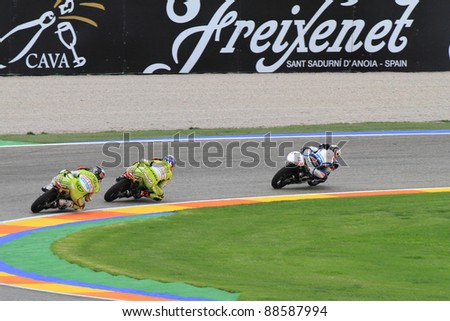 CHESTE - NOVEMBER 6: Maverick Viñales of Pev-Blusens-SMX-Paris Hilton leading his group at final race of MotoGP Grand Prix 2011 on November 6, 2011 in Cheste (Valencia), Spain