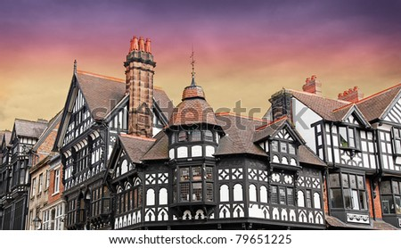 Chester a stunning Medieval English City - stock photo