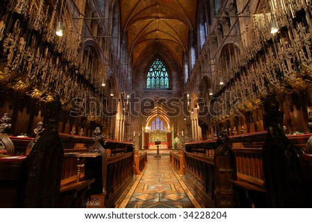 Chester Cathedral Interior - stock photo