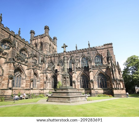 CHESTER, CHESHIRE - AUGUST 4, 2014: Cathedral. Chester has a number of medieval buildings, but some of the black-and-white buildings within the city centre are Victorian restorations  - stock photo