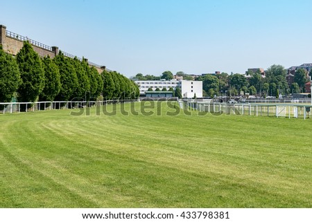 CHESTER, UNITED KINGDOM - June 04, 2016: Section of the horse racing track at Chester. June 04 2016. - stock photo
