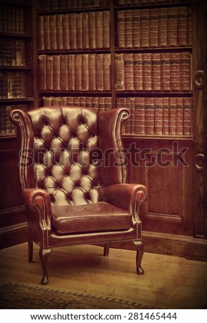 Chesterfield Leather Armchair In Classical Library Vintage Style Traditional British Retro Study Room