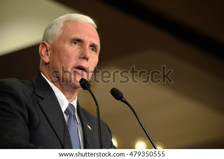Chesterfield, MO, USA - September 06, 2016: Republican vice presidential candidate, Indiana Governor Mike Pence speaks to supporters at a rally in Chesterfield, Missouri.