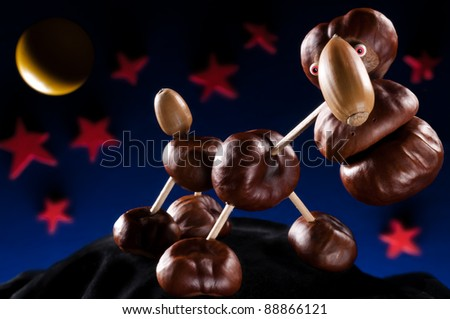 chestnut creature in the moonlight - stock photo