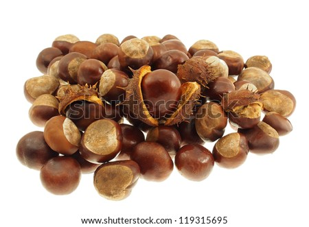 Chestnut fruits in bulk isolated on a white background.  Shallow depth-of-field. - stock photo