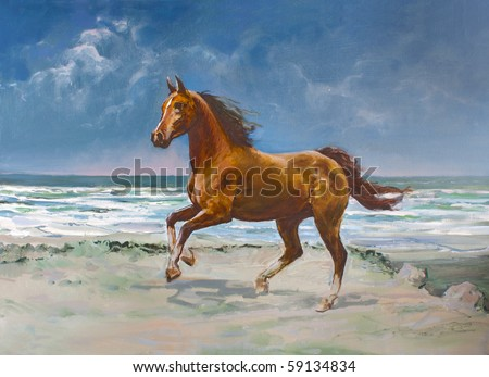 Chestnut horse galloping on shore, painting - stock photo