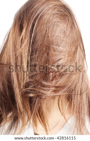chestnut natural long hair covering face of a woman with selective focus isolated on white - stock photo
