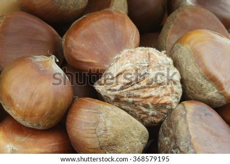 chestnuts  background - stock photo