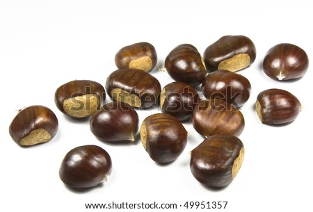 Chestnuts (castanea sativa) on white background - stock photo