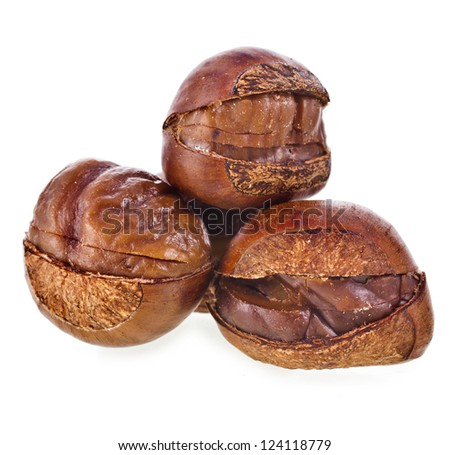 Chestnuts fruits cooked roasted unpeeled  close up macro isolated on white background - stock photo