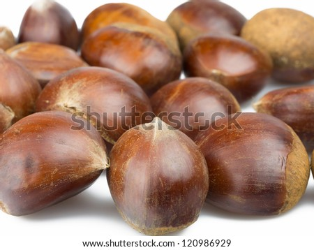chestnuts isolated on white background - stock photo