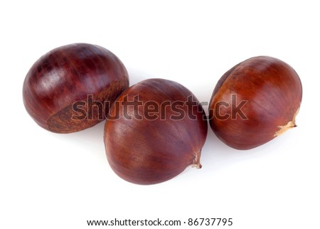 chestnuts on white background - stock photo