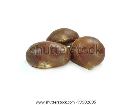 chestnuts on white background - stock photo