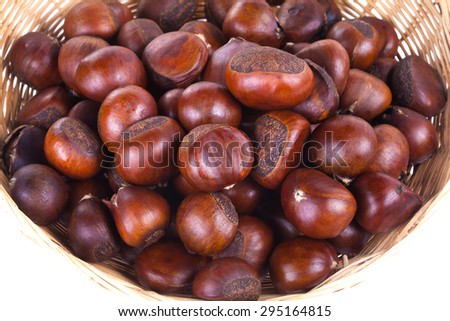 chestnuts sit on a white background