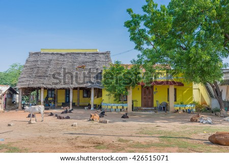 Chettinad, India - October 16, 2013: Yard in front of farm near Kadiapatti village. Cattle, goats, people in front of yellow buildings and straw roof. - stock photo