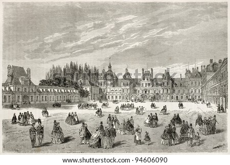 Cheval-Blanc (White horse) courtyard in Fontainebleau palace, also known as Cour-des-Adieux, France. Created by Therond, published on Le Tour du Monde, Paris, 1867 - stock photo