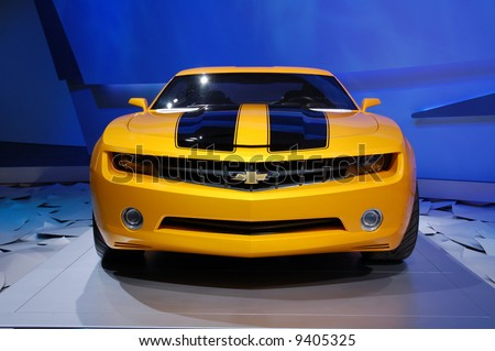 """Chevrolet Camaro new concept car. Detroit Motor Show 2008.  The same as """"Bumble Bee"""" in the """"Transformers"""" movie. - stock photo"""