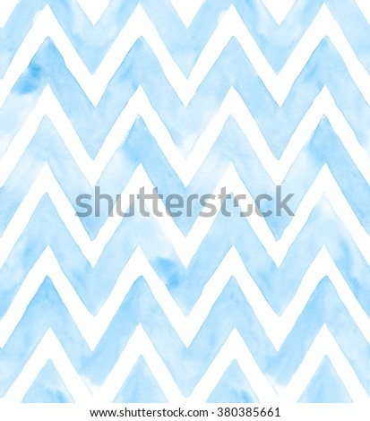 Chevron of blue color on white background. Watercolor seamless pattern for fabric - stock photo