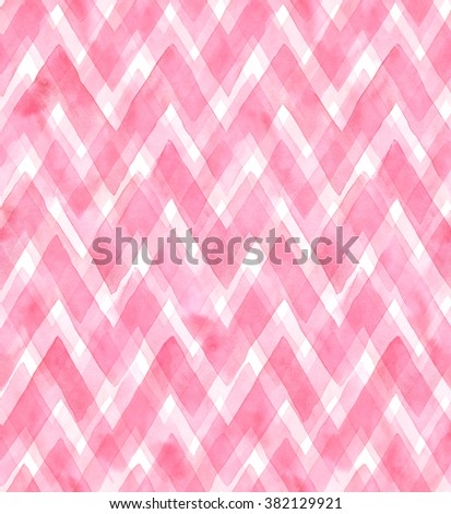 Chevrons of different shades of pink color on white background. Watercolor seamless pattern for fabric - stock photo