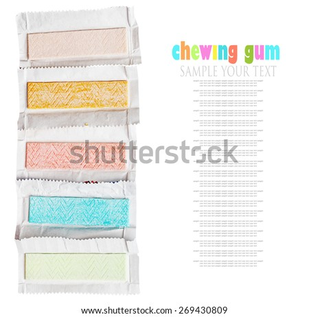 chewing gum different flavors isolated on white background. for example text and easily removed - stock photo