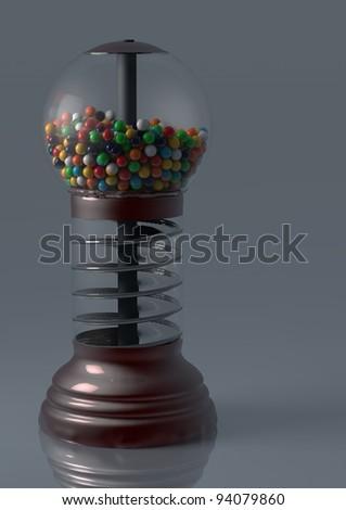Chewing gum machine with gumballs - stock photo
