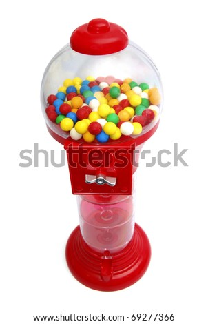 Chewing gum machine with gumballs. Insert coin and get the ball