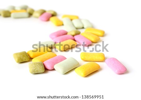 Chewing gum on a white background - stock photo