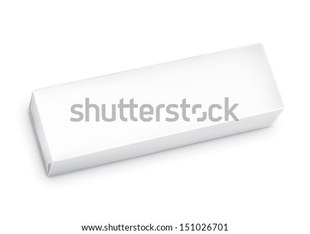 Chewing gum package in three-quarter. Packing for the isolation of the product on a white background with reflections and soldering white color  - stock photo