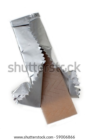 chewing gum partly opened, isolated on white background - stock photo