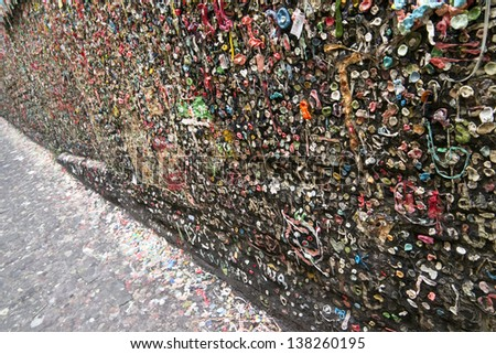 Chewing Gum travels up the wall at Market Theater Post Alley Seattle WA - stock photo