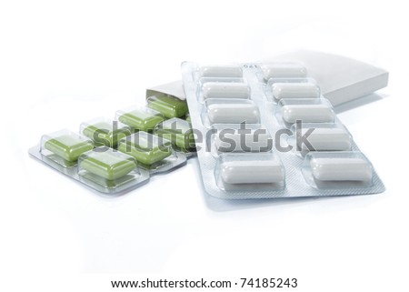 Chewing Gum with box. isolated over white - stock photo