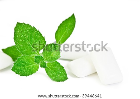 Chewing gym and fresh leaves of mint on a white background - stock photo