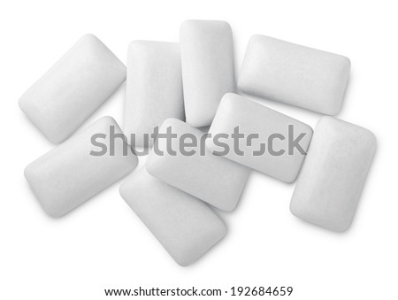 Chewing or bubble gum isolated on white with clipping path - stock photo