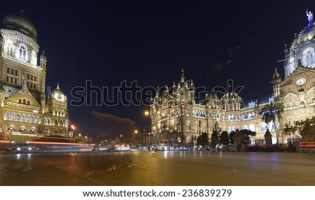 Chhatrapati Shivaji Terminus (CST) formerly Victoria Terminus in Mumbai, India is a UNESCO World Heritage Site and historic railway station which serves as the headquarters of the Central Railway. - stock photo