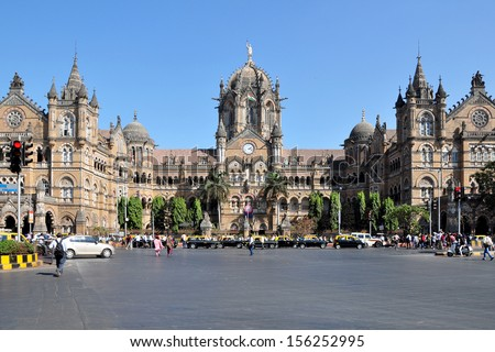 Chhatrapati Shivaji Terminus formerly Victoria Terminus in Mumbai, India is a UNESCO World Heritage Site and historic railway station which serves as the headquarters of the Central Railways. - stock photo