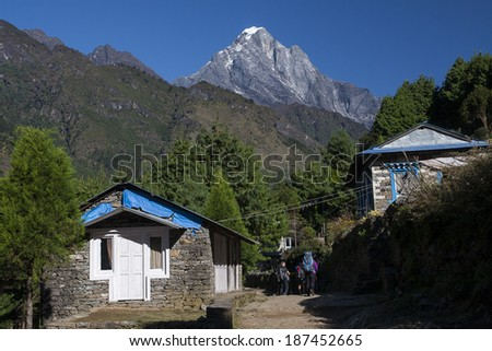 CHHEPLUNG, NEPAL - CIRCA OCTOBER 2013: view of the Himalayas circa October 2013 in Chheplung. - stock photo