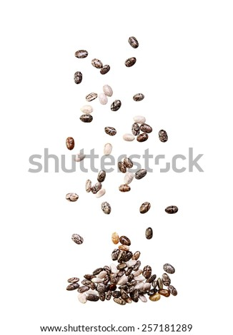 Chia seed isolated on white background. - stock photo