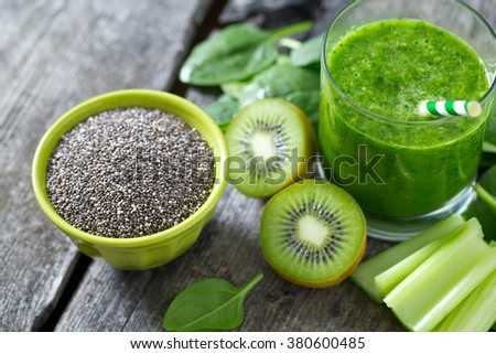 chia seeds and green smoothie - stock photo
