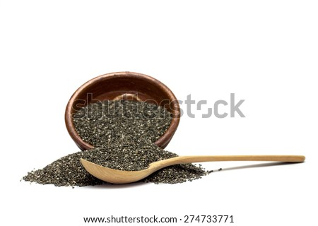 chia seeds in a wooden spoon - stock photo