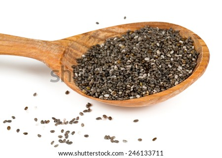 chia seeds in a wooden spoon isolated on white - stock photo