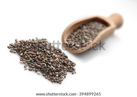 Chia seeds in scoop on white background