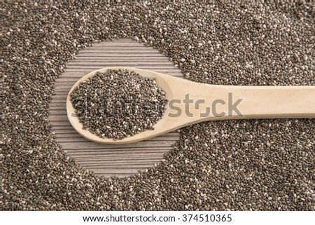 chia seeds in wooden spoon.