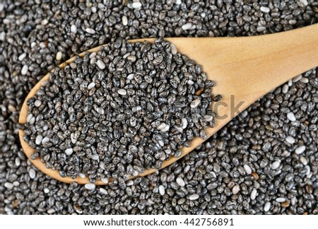 Chia seeds in wooden spoon on background