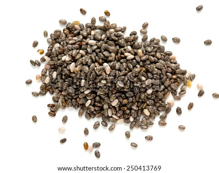 chia seeds isolated on white - stock photo