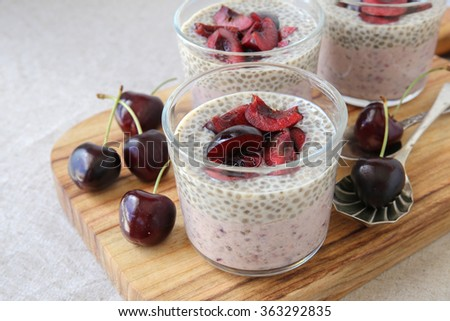 Chia seeds pudding with cherry, selective focus