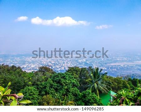 Chiang Mai city from Doi Suthep - stock photo