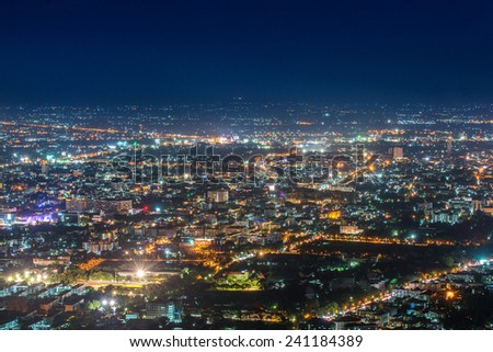 chiang mai night view on view point of doi suthep , chiang mai ,thailand