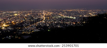 chiang mai night view on view point of doi suthep , chiang mai ,thailand, Panorama