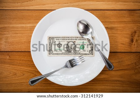 Chiang Mai, Thaialnd - September 1,2015 : A dollar bill in the plate on eating table. Concept of business - stock photo