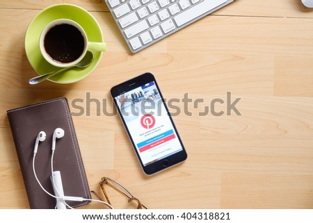 CHIANG MAI, THAILAND - APR 12 2016 : iPhone 6 Plus with social Internet service Pinterest on the screen. iPhone 6 Plus was created and developed by the Apple inc. - stock photo